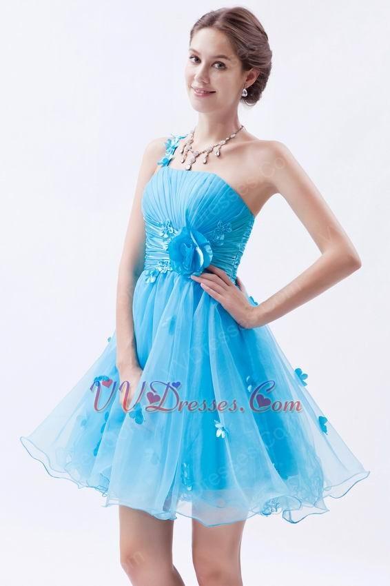 Sexy One Shoulder Knee Length Azure Graduation Dress
