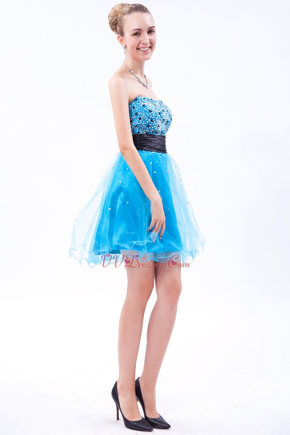 Sexy Beaded Sequin Mini Azure Cocktail Dress Girls Wear