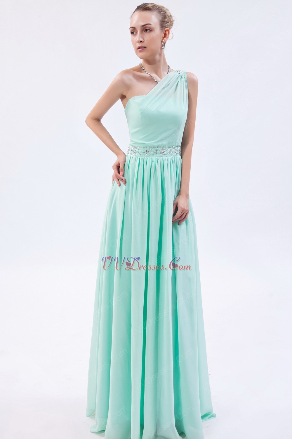 One Shoulder Column Silhouette Light Green Special