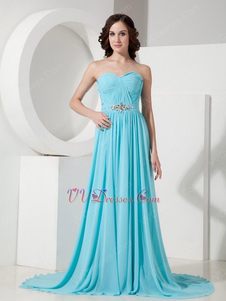 Top Designer Aqua Blue Chiffon Prom Dress Amazon Hot Sale