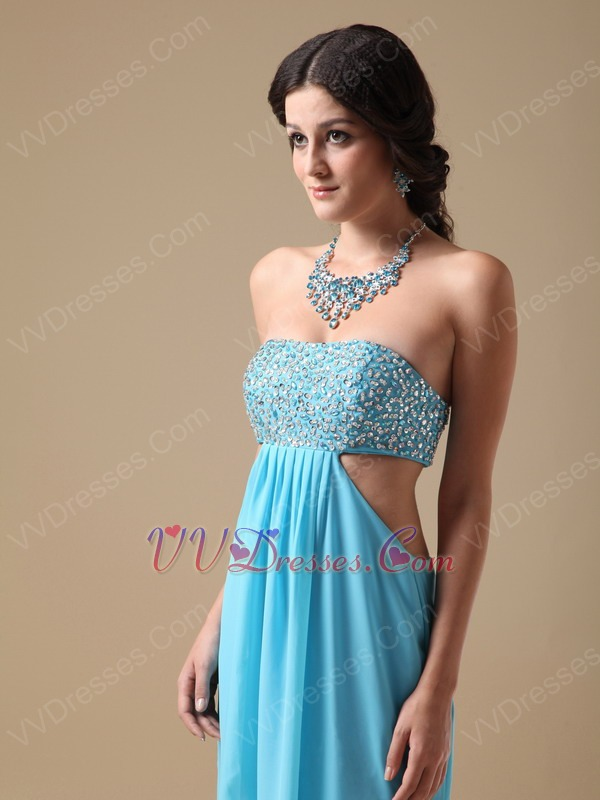 Beaded Exposed Aqua Chiffon Prom Dress With Show Leg Split