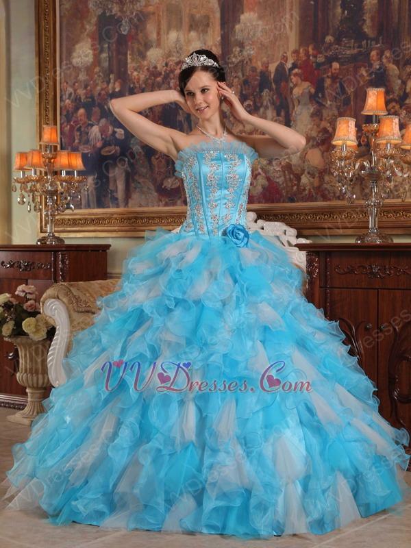 Aqua And White Interphase Ruffles Dama Quinceanera Dress