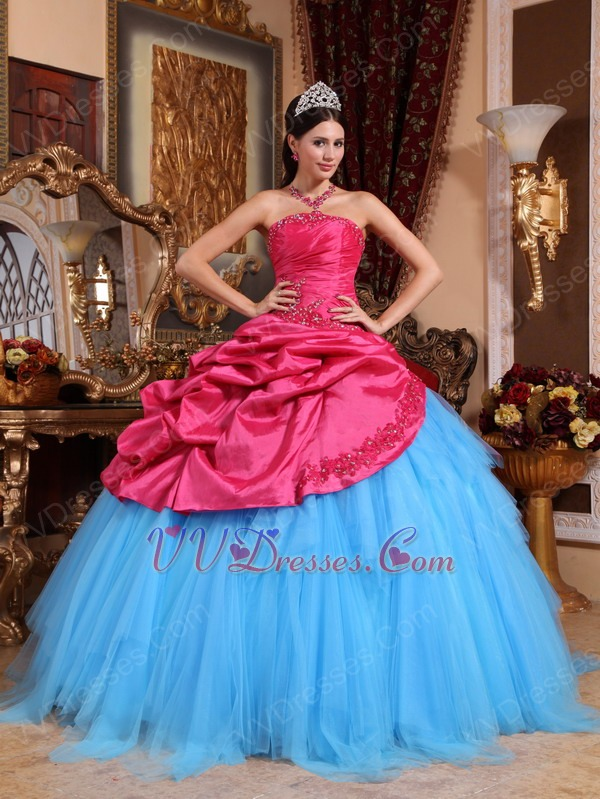 new fashion contrast fabric color 2014 quinceanera dress