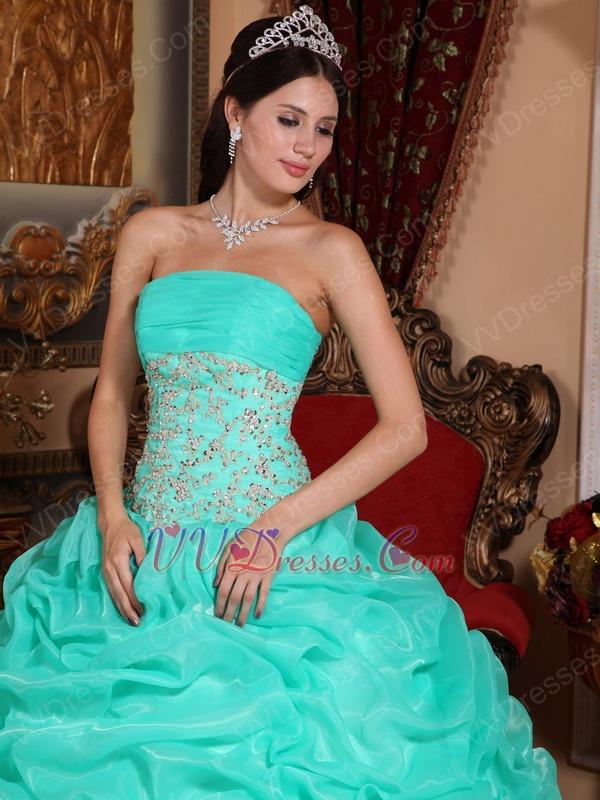 Aqua Floor Length Puffy Skirt Designer Quinceanera Dress