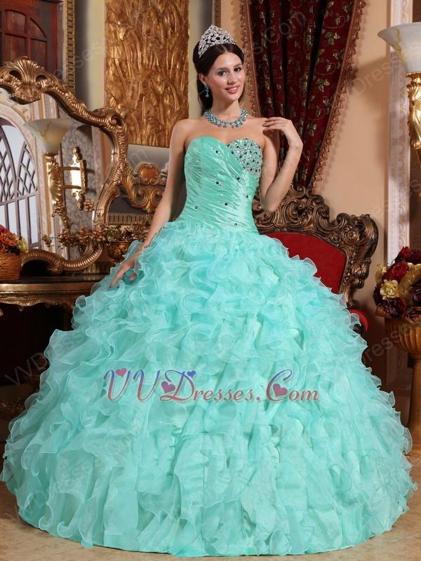 light sky blue sweetheart ruffle skirt prom ball gown - Light Sky Blue Color