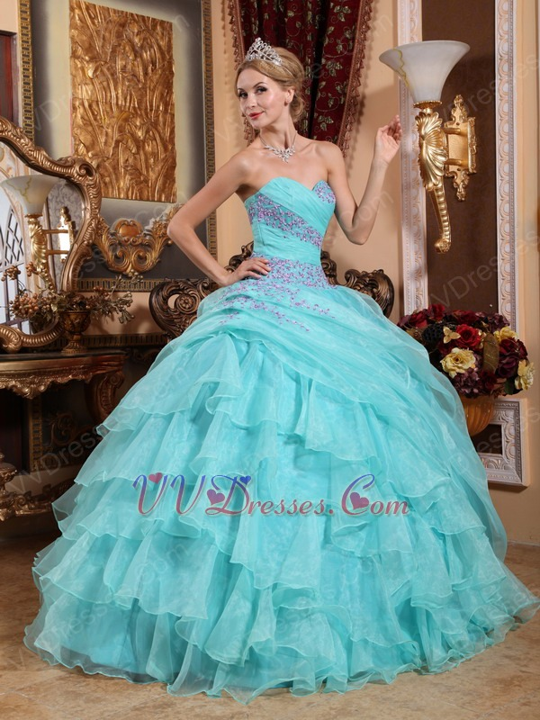 Ruffle Skirt Sweetheart Quinceanera Gown Dress Aqua Blue