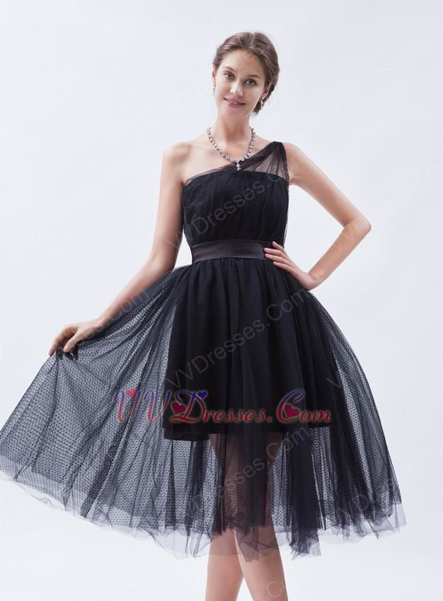Cheap One Shoulder Puffy Ball Gown Prom Black Short Dress