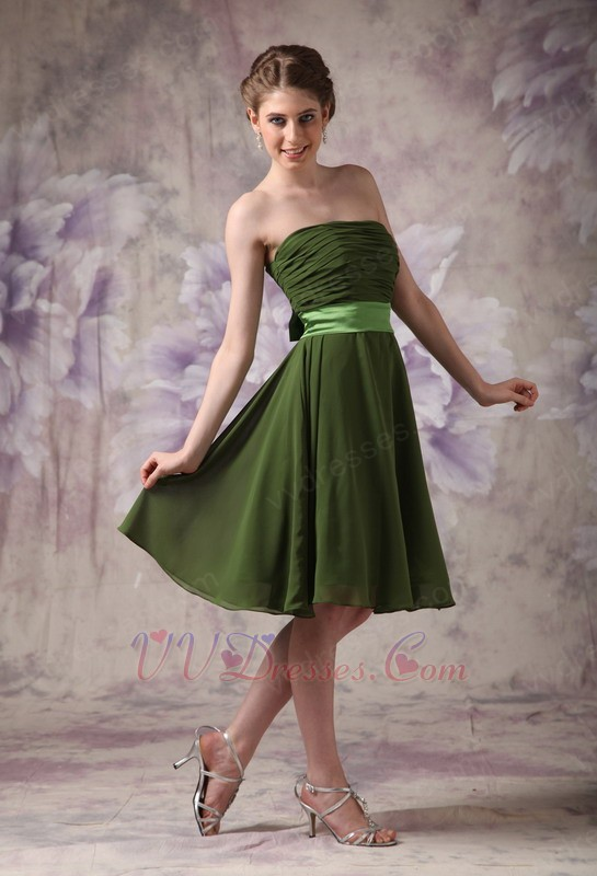 Strapless olive green beach bridesmaid dress with sash for Green beach wedding dresses