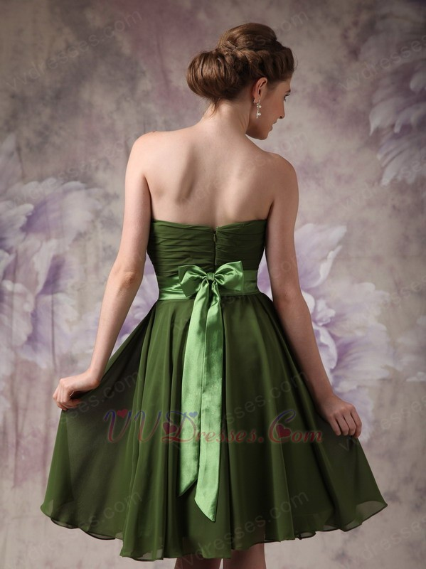 Strapless olive green beach bridesmaid dress with sash for Olive green wedding dresses