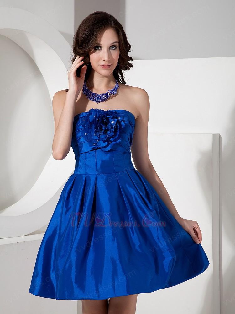 Handmade flower decorate cobalt blue short bridesmaid dress for Blue short wedding dress