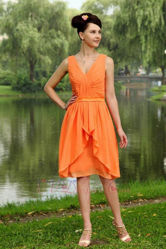 Outdoor Wedding Party Orange Bridesmaid Dress 2014