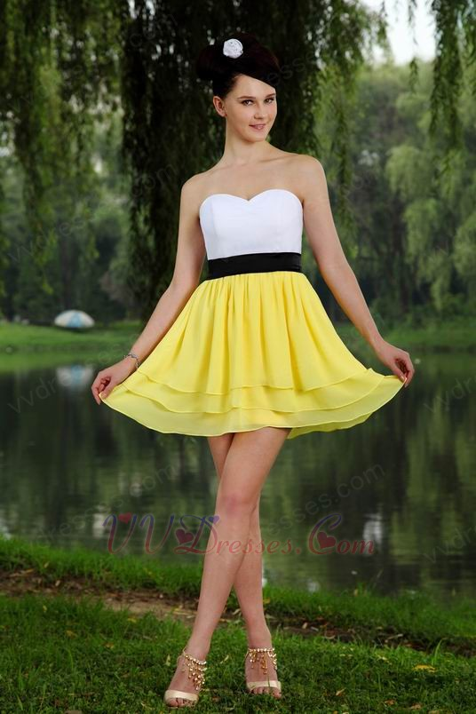White And Yellow Prom Bridesmaid Dress Under 100