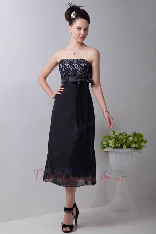 Custom black tea length bridesmaid dress with lace for Black tea length wedding dress