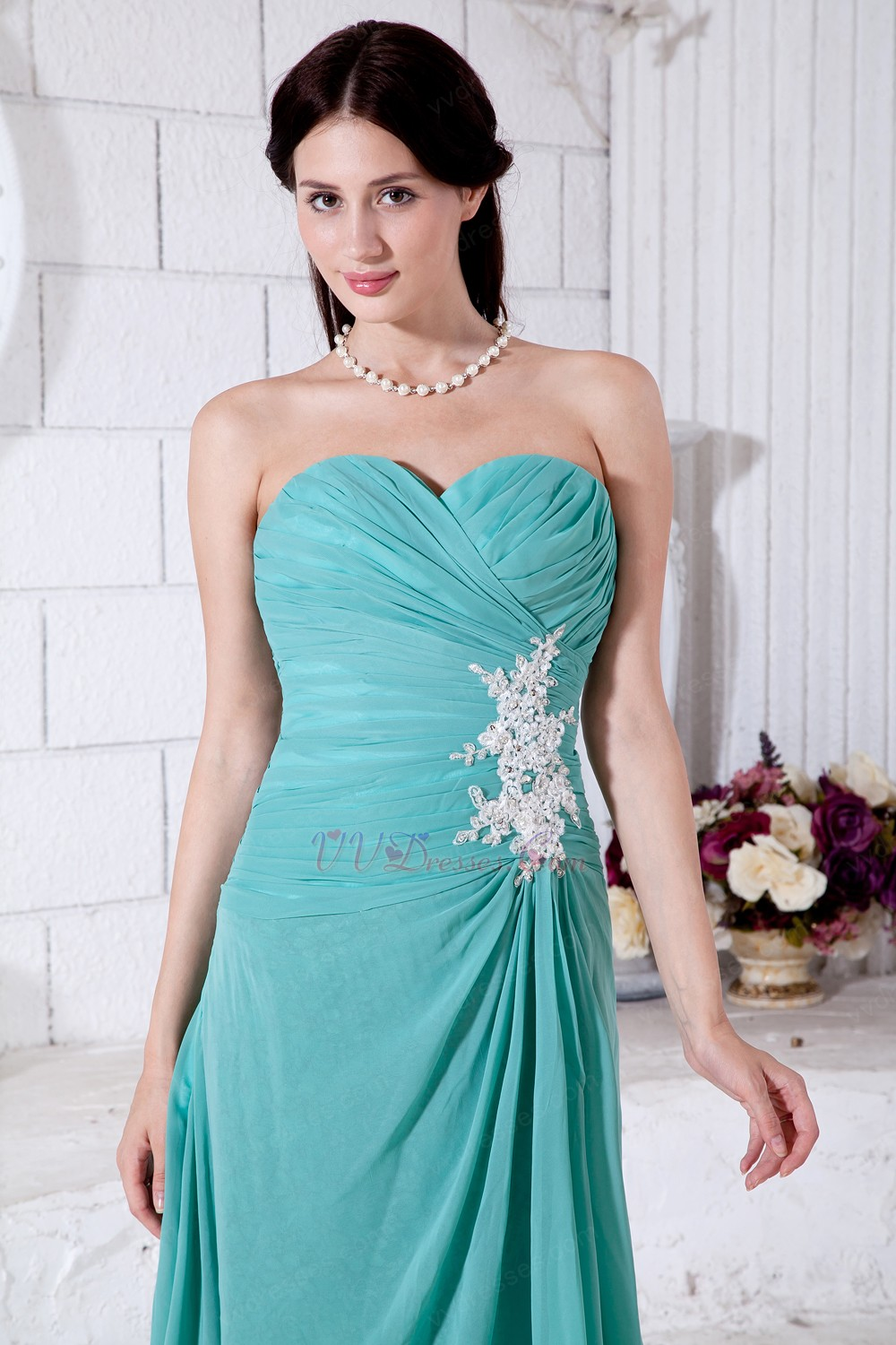 Appliques empire long turquoise bridesmaid dresses ombrellifo Image collections