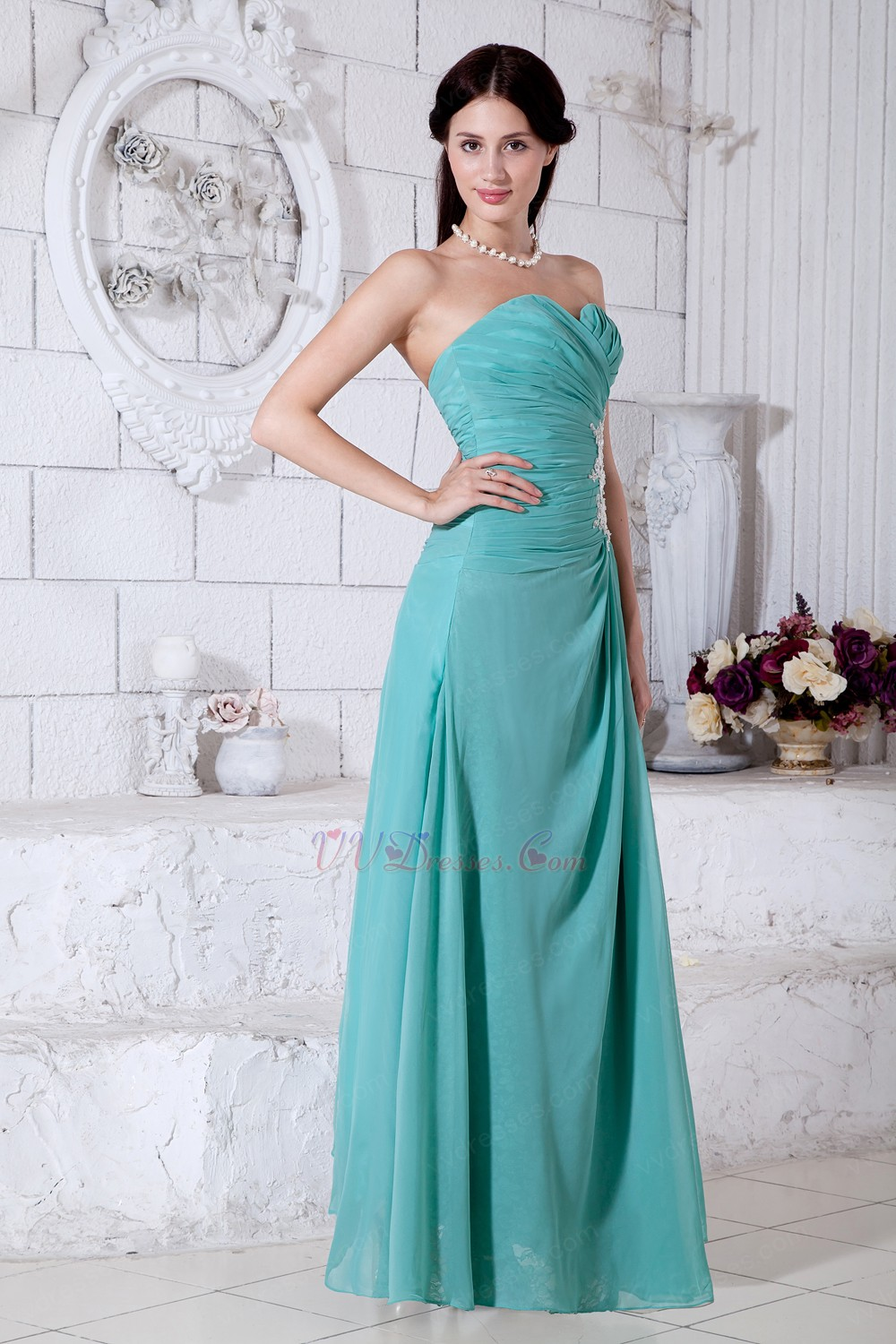 Appliques empire long turquoise bridesmaid dresses ombrellifo Choice Image