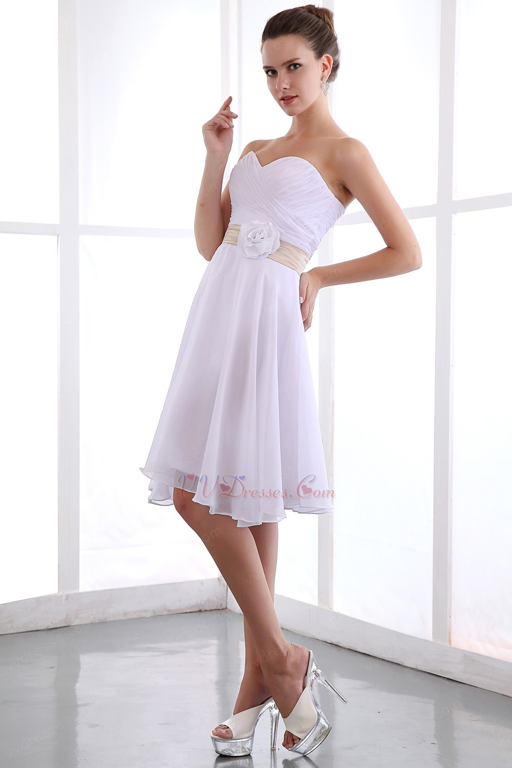 Short white chiffon bridesmaid dress under 100 dollars for Short white wedding dresses under 100