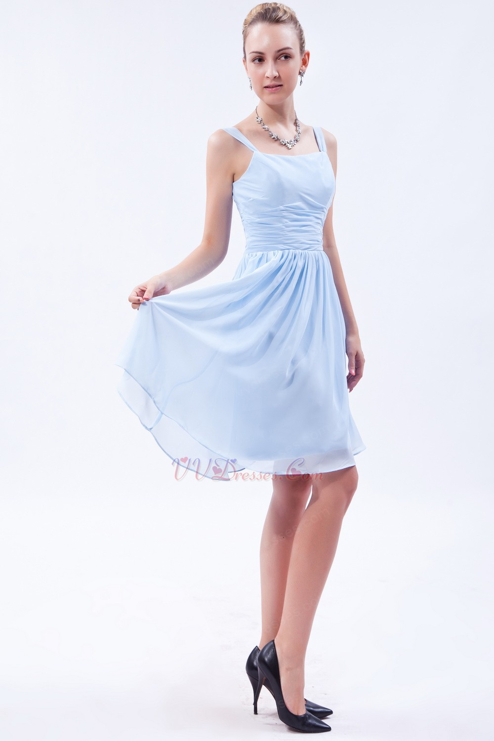 Square Baby Blue Short Bridesmaid Dress Under 100 Dollars