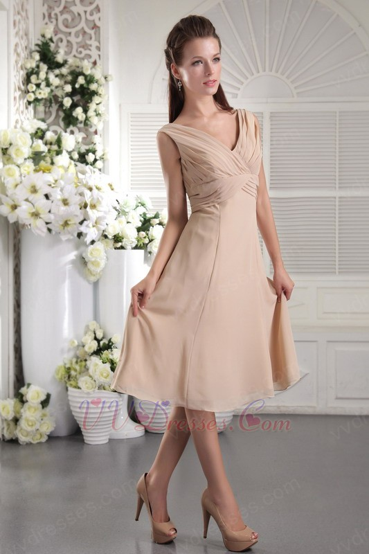 Champagne v neck tea length bridesmaid dress cheap for Champagne tea length wedding dresses