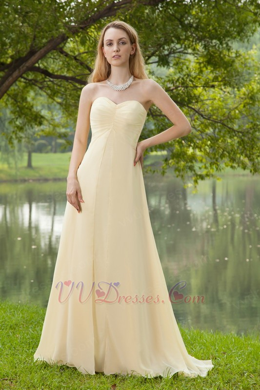 Sweetheart champagne chiffon bridesmaid dress cheap for Cheap champagne wedding dresses