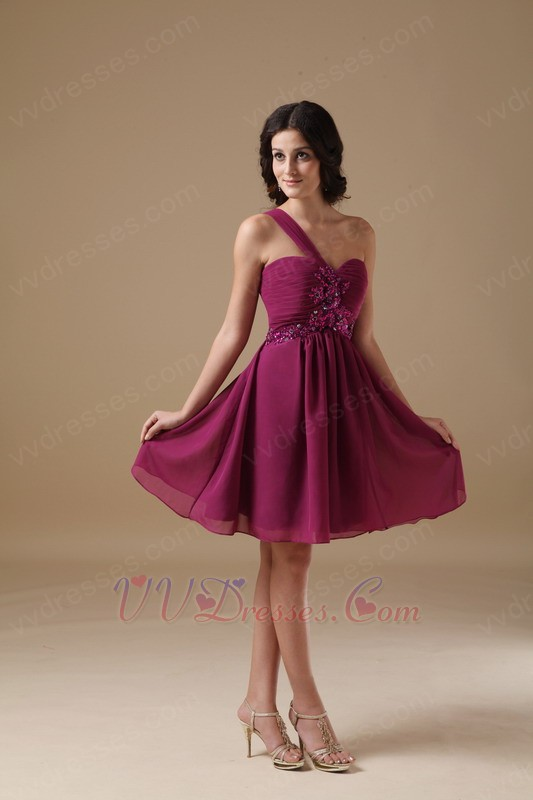 Plum One Shoulder Bridesmaid Dress For 2014 Wedding