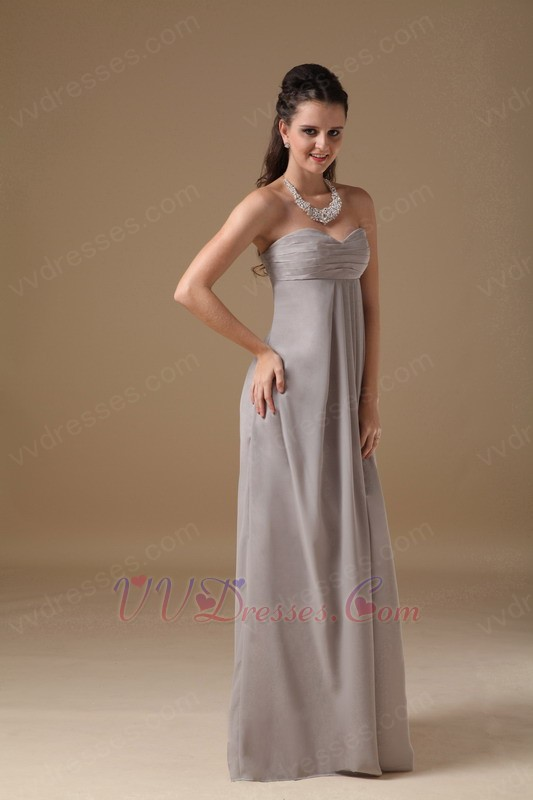 Grey long chiffon skirt bridesmaid dress under 100 for Long wedding dresses under 100