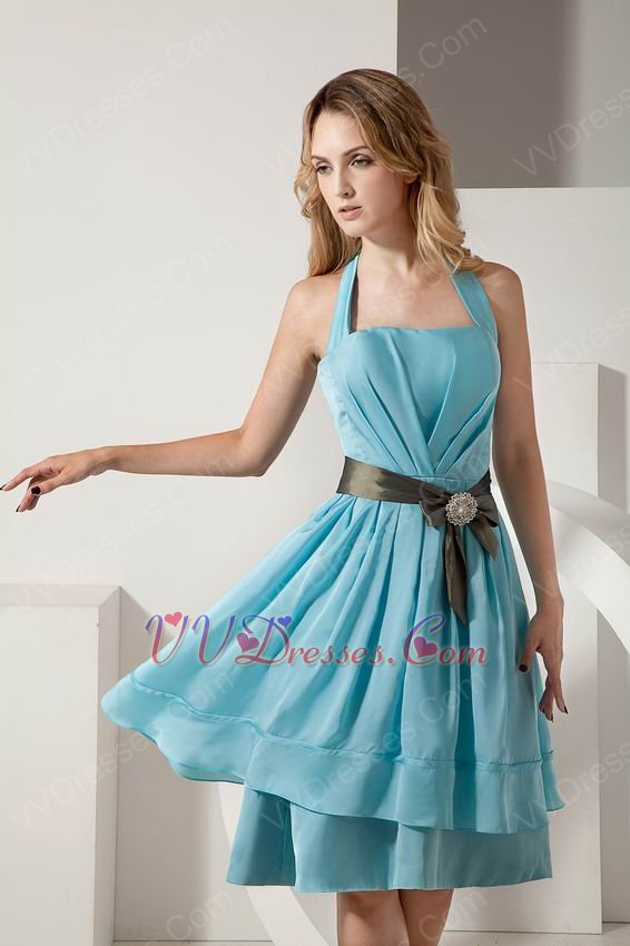Wholesale Aline Short Light Blue Chiffon Short Prom Dress With Ribbon