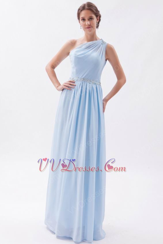 One Shoulder A-line Skirt Baby Blue Chiffon Princess Prom Dress