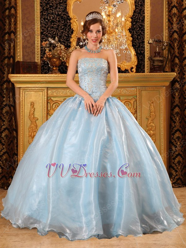 Baby Blue Organza For 2018 Winter Quinceanera Party Dress