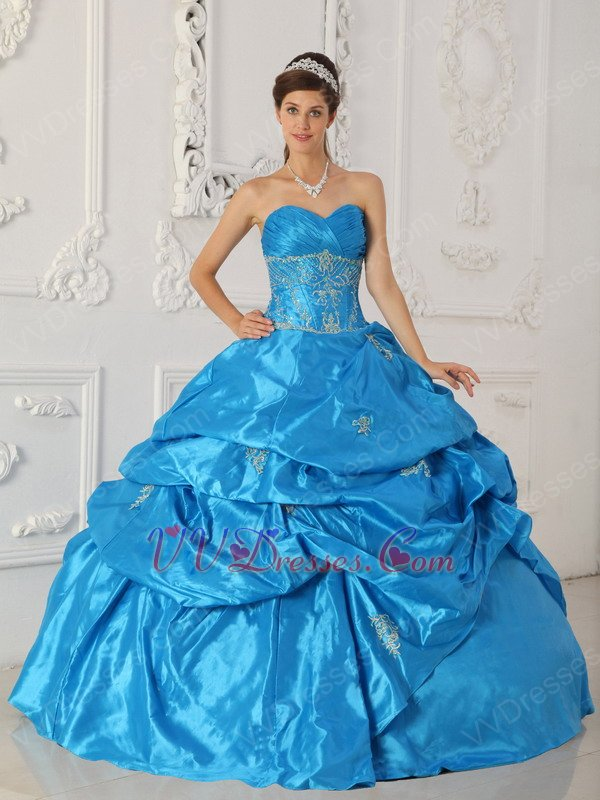 Sell Sweetheart Teal Blue Puffy Ball Gown To Quinceanera