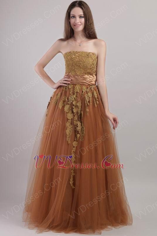 Best Designer Brown Evening Dress With Applique Decorate