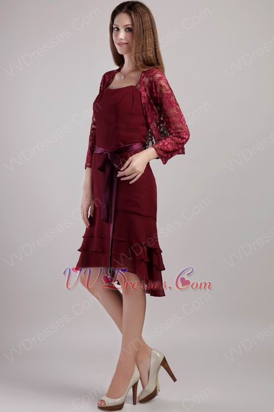 Short Burgundy Chiffon Mother Of The Bride Dress With Jacket