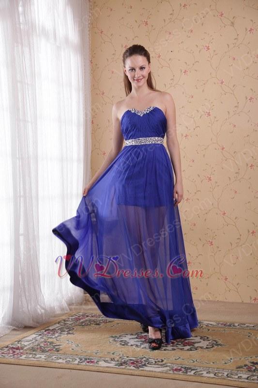 Empire Waist Sweetheart Translucent Royal Blue Prom Dress