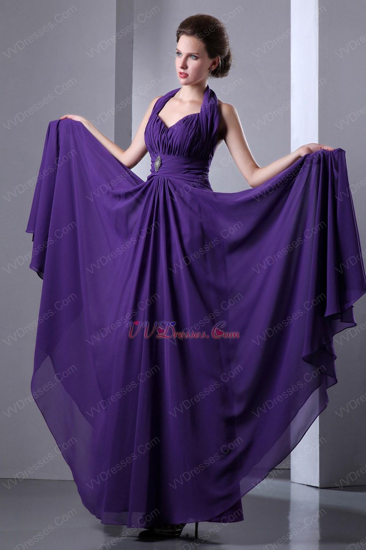 Halter Sweetheart Indigo Chiffon Long A Line Prom Dress By