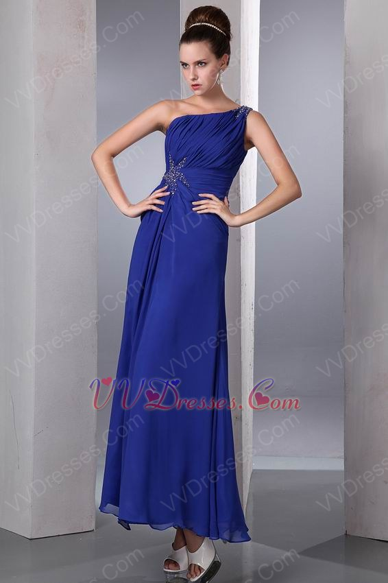 One Shoulder Floor Length Front Split Skirt Cobalt Blue ...