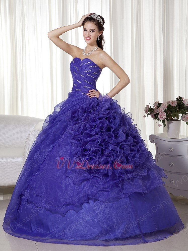 wisteria purple ruffle designer dress to quinceanera