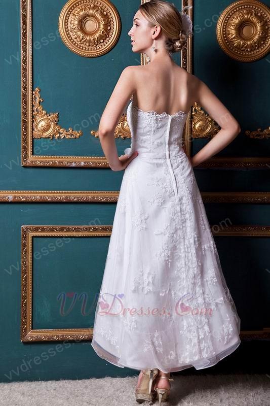 Straples ankle length bridal wedding dress for beach for Beach wedding dresses ankle length