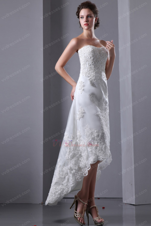 Custom made sweetheart high low asymmetrical beach bridal for High low sweetheart wedding dress