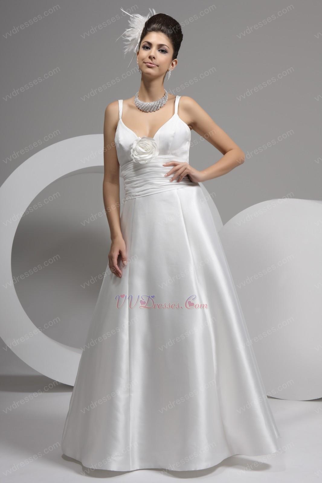 Simple Spaghetti Straps A Line Beach Wedding Dress