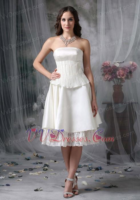 Strapless casual romantic beach wedding dress short romantic for Short casual beach wedding dresses