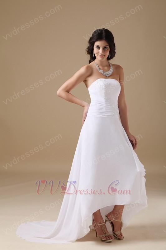 Romantic strapless high low beach wedding dress cheap for High low wedding dresses cheap