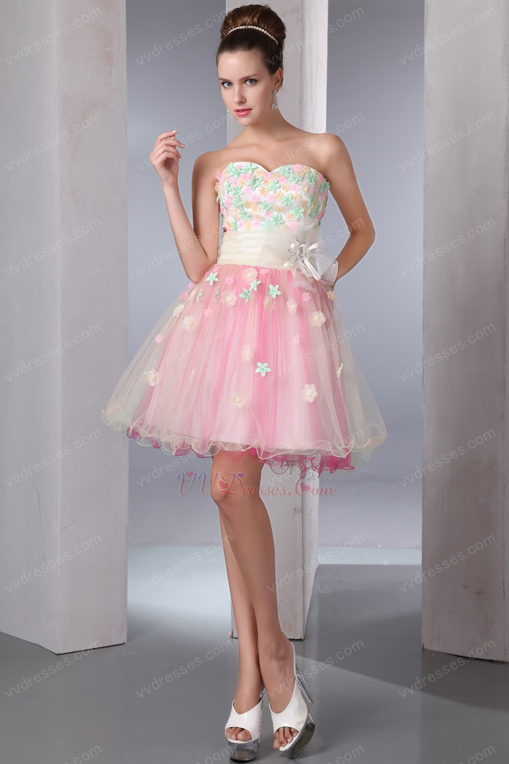 Lovely Colorful Appliqued Flowers Cocktail Girls Dress