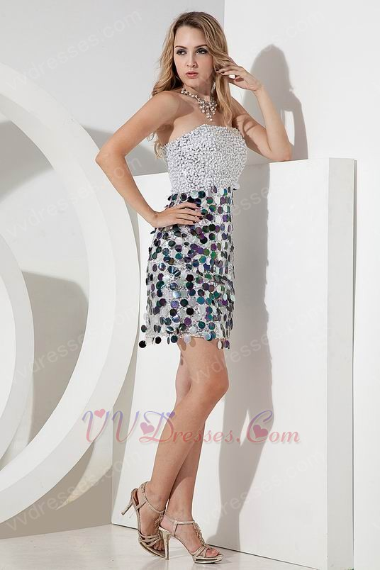 Strapless Sequin Skirt Cocktail Party Dress Low Price