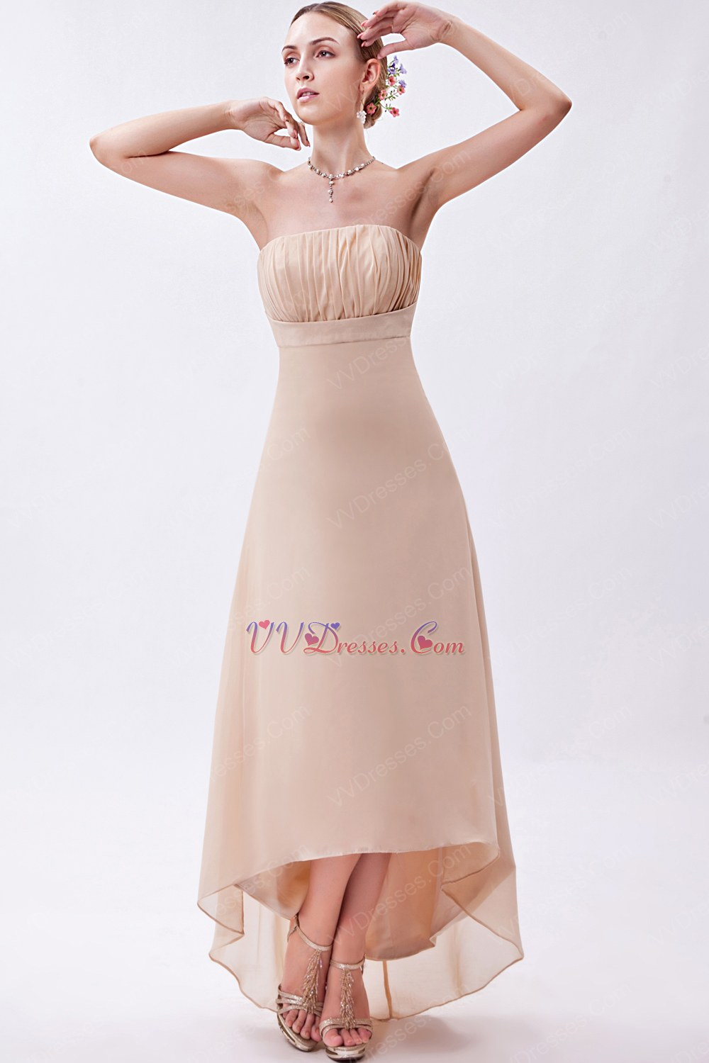 Strapless Asymmetrical Bisque High Low Bridesmaid Dress