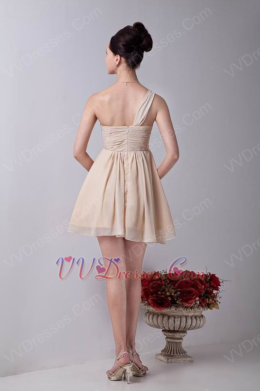 Cheap one shoulder champagne chiffon bridesmaid dress for Cheap champagne wedding dresses