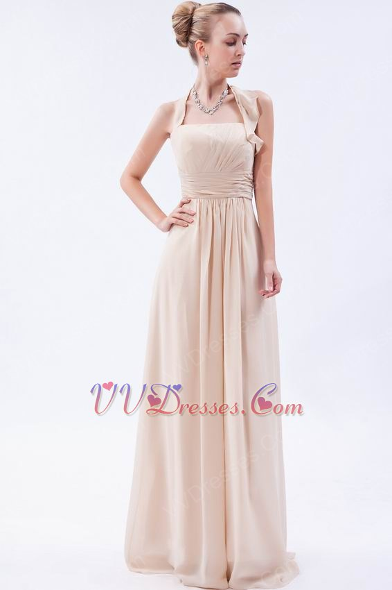 Halter Top Neck Champagne Chiffon Cheap Prom Dress For Sale