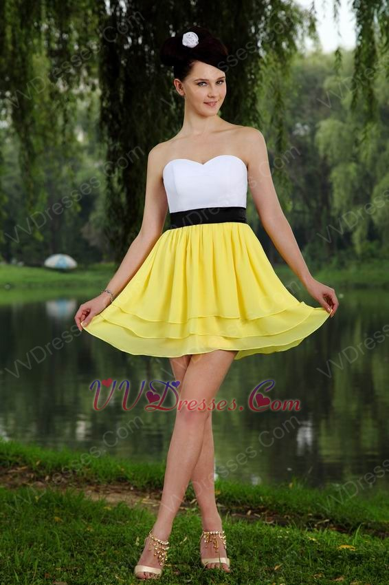 ... Dresses :: Sweetheart White And Yellow Chiffon Graduation Dress