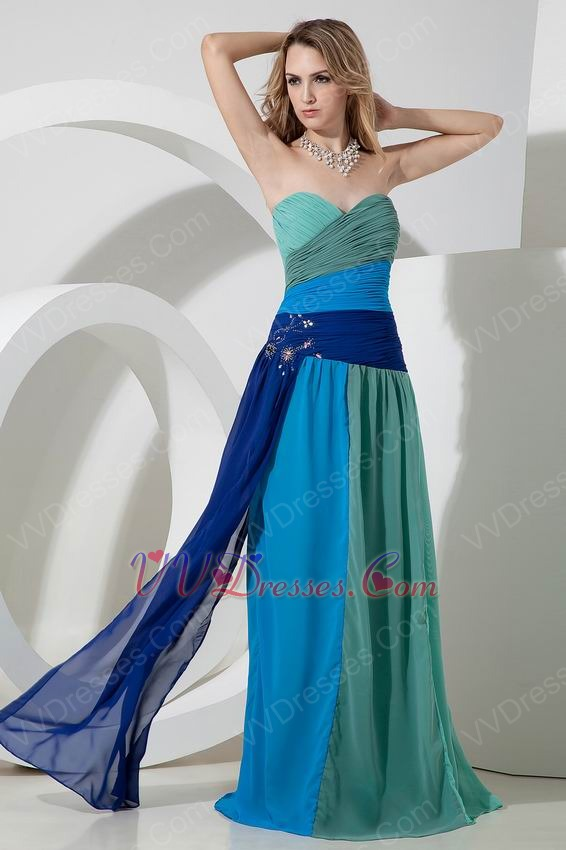 Colorful Chiffon Contrast Color Sweetheart Prom Evening Dress