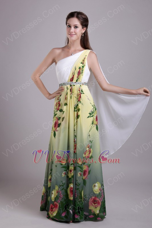 Shoulder Floor-length Printed Different Prom Dress Exquisite