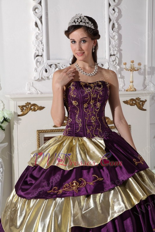 Purple And Golden Layers Puffy Quinceanera Dress By Top