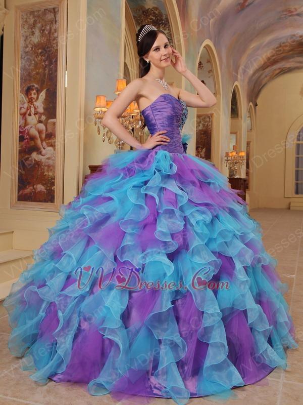 Top Seller Ruffles Puffy Skirt Custom Made Quinceanera Dress
